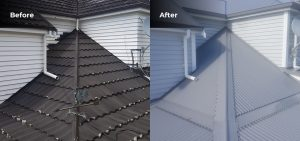 Before and after photos of a roof side by side, with an old roof on the left and the new roof on the right