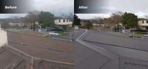 Before and after photos, with an old house roof on the left, and a new house roof on the right
