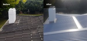 an aerial view of a house roof after re roofing work has been undertaken